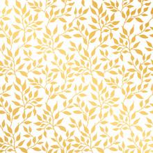 Flowers Leaf Gold Seamless Pattern