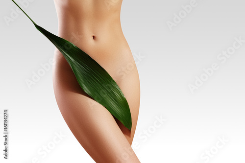 Waxing for beautiful woman. Brazilian laser hair removal bikini line an sexy body shapes. Body care and clean skin