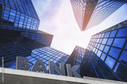 Bank building in a business area Canvas-taulu