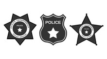 Set Police Badge With Stars In...
