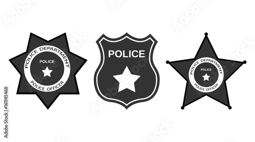 Fotografía  Set Police badge with stars in flat style