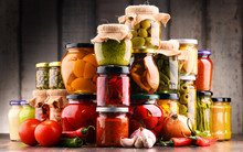 Jars With Variety Of Pickled V...