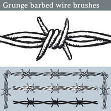 Grunge Barbed Wire Brushes. Brushes For Illustrator To Draw Barbed Wire With A Grunge Look. Three Different Versions: Unfilled, With White Fill And In Silhouette.