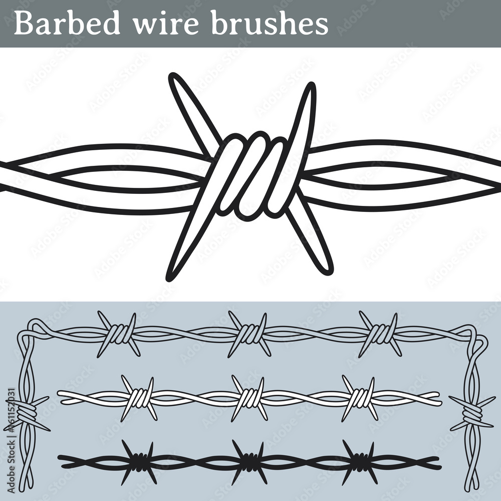 Fototapeta Barbed wire brushes. Brushes for Illustrator to draw barbed wire. Three different versions: unfilled, with white fill and in silhouette.