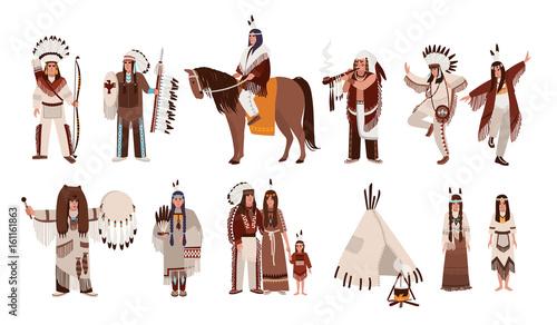 Set of Indians in traditional costumes Tapéta, Fotótapéta
