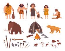 Set Of Stone Age Theme. Primit...