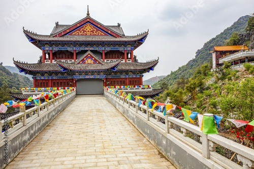 Foto op Plexiglas China Plaque and Traditional Architecture