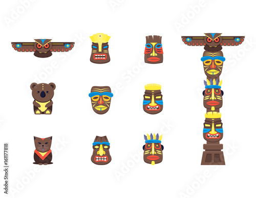 Cartoon Traditional Religious Totem Color Icons Set. Vector Wall mural