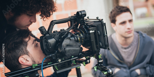 Behind the scene. Actor in front of the camera Canvas Print