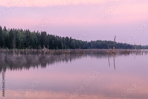 lake sunrise pink clouds sky fog