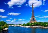 Fototapeta Fototapety z wieżą Eiffla - Paris Eiffel Tower and river Seine in Paris, France. Eiffel Tower is one of the most iconic landmarks of Paris.