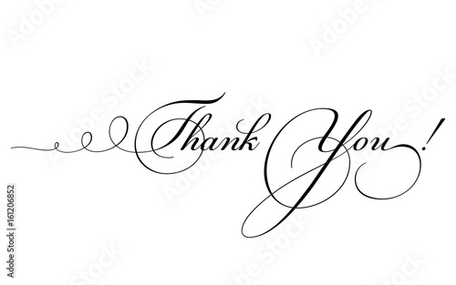 Thank You Card Vector Calligraphy With Swirl Hand Drawn Lettering
