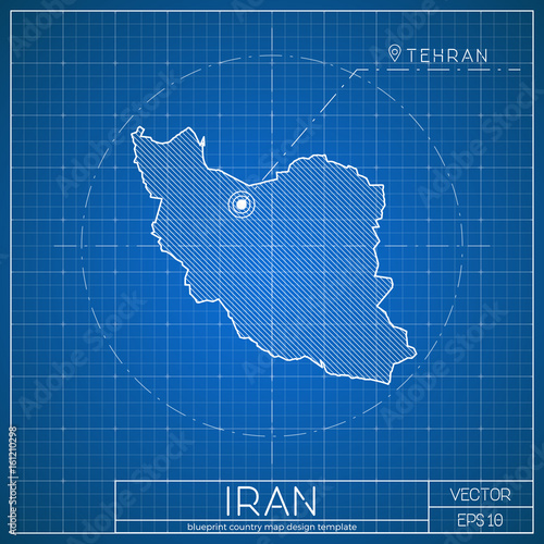 iran blueprint map template with capital city tehran marked on