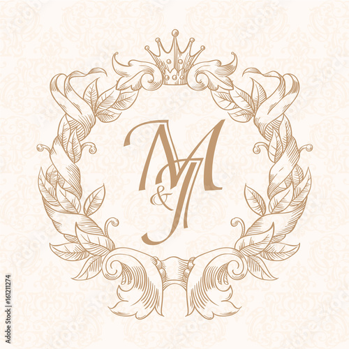 Elegant Fl Contour Monogram Design Template For One Or Two Letters Wedding Business Sign Ideny Restaurant Boutique Hotel