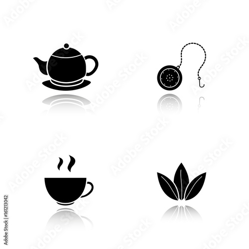 Fényképezés  Tea drop shadow black icons set