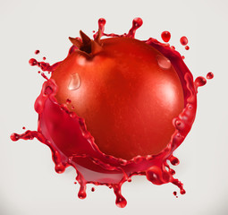 Fototapeta na wymiar Pomegranate juice. Fresh fruit, 3d vector icon