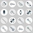 Apparatus Icons Set. Collection Of Harrow, Turn Screw, Gasoline Cutter And Other Elements. Also Includes Symbols Such As Destination, Polarity, Clippers.