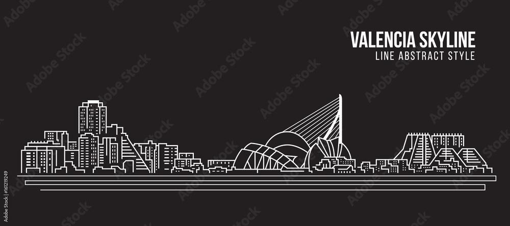 Cityscape Building Line art Projekt ilustracji wektorowych - Valencia skyline