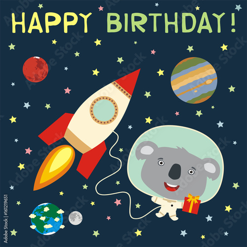 Happy Birthday Funny Koala Bear With Gift In Spacesuit Next To