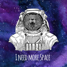 Animal Astronaut Brown Bear Russian Bear Wearing Space Suit Galaxy Space Background With Stars And Nebula Watercolor Galaxy Background