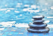 Stacked Stone On Floor Swimming Pool Background