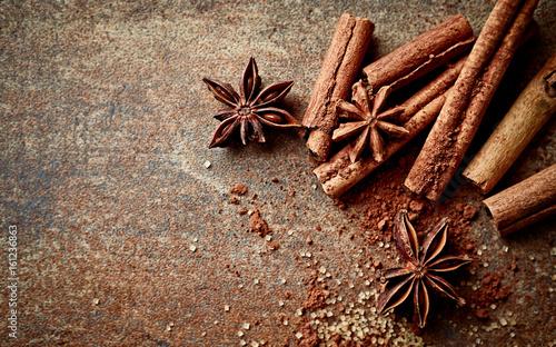Fototapeta Assorted natural baking ingredients on a rustic background obraz