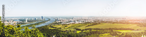 Tuinposter Wenen Panoramic view of Vienna, Austria from Kahlenberg