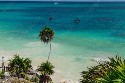 Tulum Beach In The Caribbean Sea Ruins Of Tulum Mayan Temple