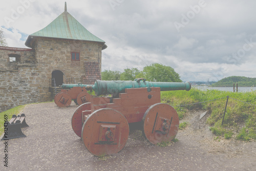 Photo  Akershus Fortress or Akershus Castle is a medieval castle that was built to protect Oslo, the capital of Norway