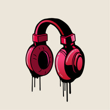 Headphone Pink Graffiti Style,...