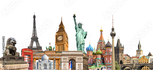 Photo  World landmarks photo collage isolated on white background, travel, tourism and