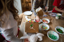 Family At Home, Making Gingerbread House, Mid Section