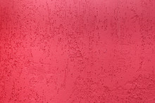 Plaster Pink Background. Old Cement Wall Texture In Red. Can Be Used As Background Or Texture.
