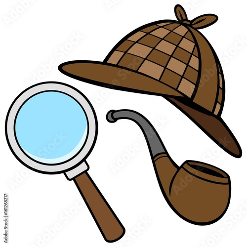 Fotografie, Obraz  Detective Hat, Pipe, and Magnifying Glass