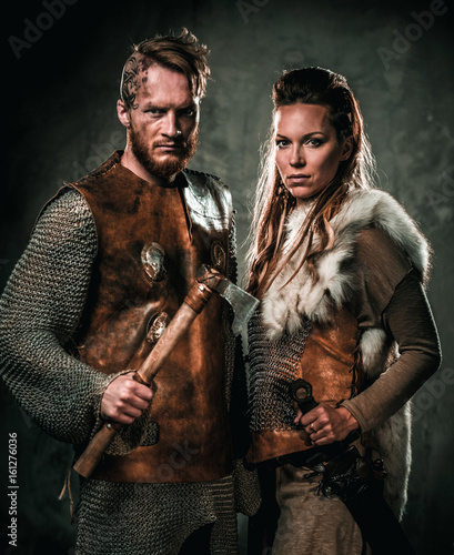 фотография Vikings couple posing in studio.