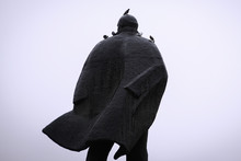 Russia. Siberia. May 01 2017,. The Statue Of Lenin. On His Head Sat The Pigeons
