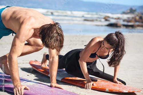 private surf lesson on beach
