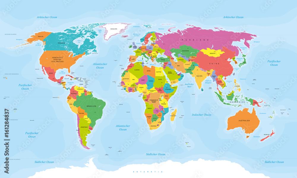 Mapa Swiata W Jezyku Niemieckim Teksty Wektorowe Kraje Stolice