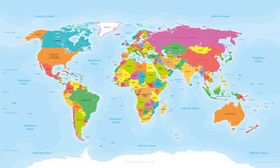 Mapa świata w niemieckojęzycznych tekstach: kraje, stolice, wyspy, morza ...