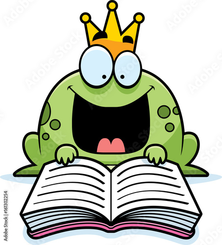 Cartoon Frog Prince Reading