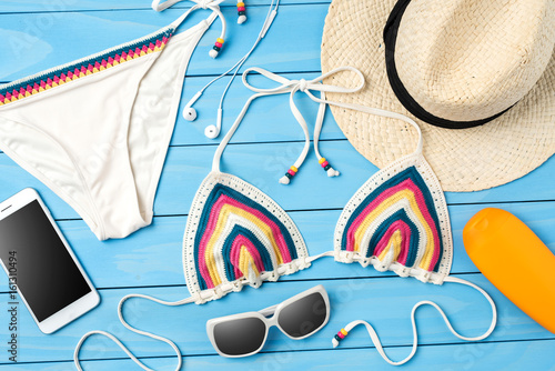 Fototapety, obrazy: Beach accessories on blue wooden background