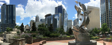 Panoramic View Of Downtown Charlotte, NC As Seen From Romare Bearden Park