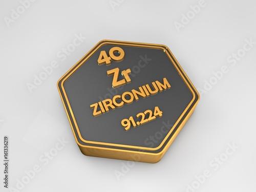 Fényképezés  zirconium - Zr - chemical element periodic table hexagonal shape 3d render