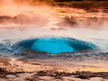 Strokkur Geyser Just At The Explosion Moment, Iceland.