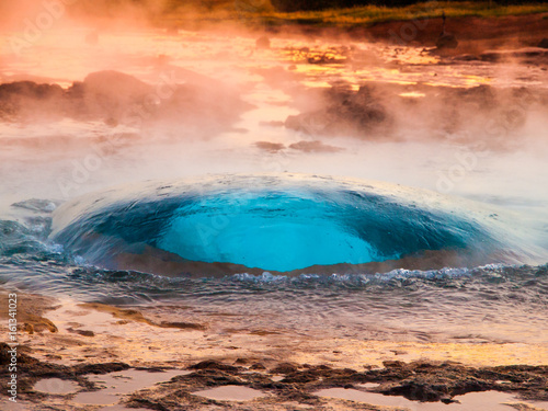 Strokkur geyser just at the explosion moment, Iceland. Fototapeta