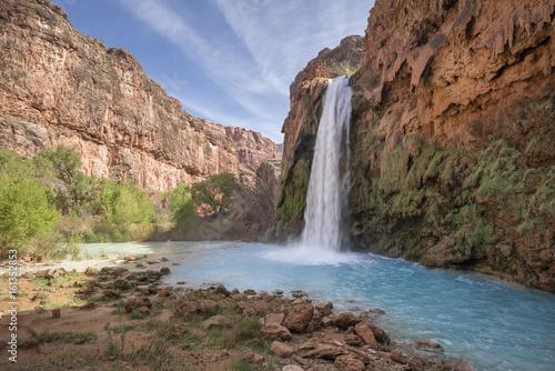 Poster Bordeaux Havasu Falls Waterfall, Havasupai Indian Reservation, Grand Canyon, Arizona