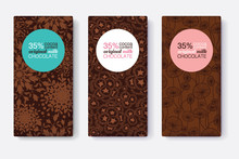 Vector Set Of Chocolate Bar Package Designs With Modern Brown Floral Patterns. Pastel Circle Frame. Editable Packaging Template Collection.