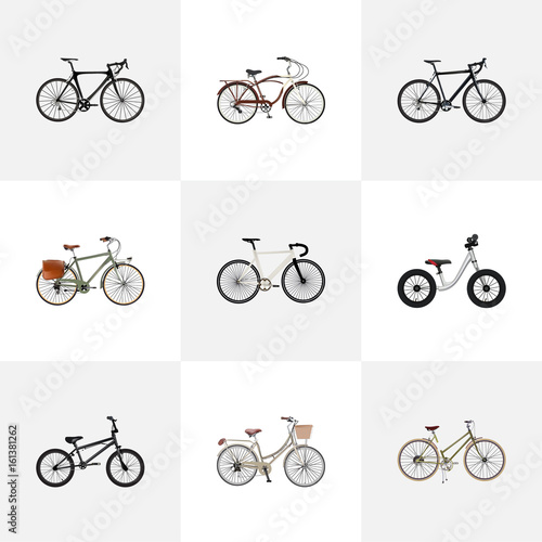 Deurstickers Fiets Realistic Equilibrium, Brand , Working Vector Elements. Set Of Bike Realistic Symbols Also Includes Road, Girl, Bmx Objects.