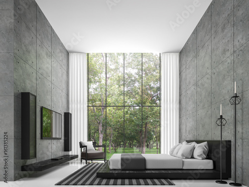 Bon Modern Loft Bedroom 3d Rendering Image The Room Has A High Ceiling. There  Is A
