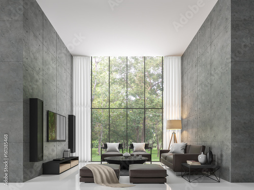 Modern Loft Living Room 3d Rendering Image The Living Room Has A High  Ceiling. There